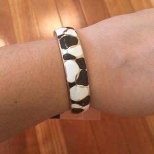 Old Navy Hinge Bracelet Black Gold White